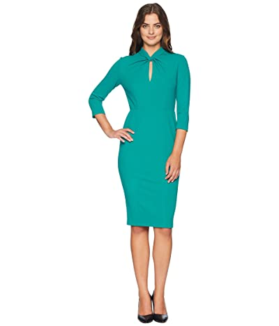 Donna Morgan Long Sleeve Crepe Sheath with Twisted Neckline (Evergreen) Women