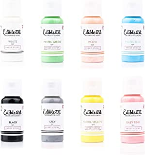 Sweet Sticks Edible Art Decorative Cake Paint 0.5 Ounce (15 Milliliters) - White, Black, Gray, Peach, Baby Pink, Pastel Yellow, Pastel Blue and Pastel Green (1 Each Color)