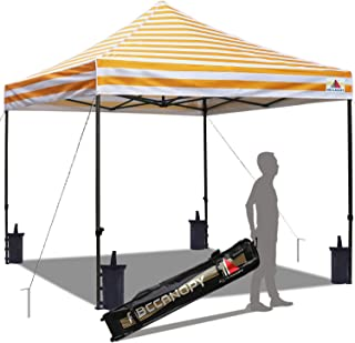 ABCCANOPY Pop up Canopy Tent Commercial Instant Shelter with Wheeled Carry Bag, Bonus 4 Canopy Sand Bags, 10x10 FT Carnival Yellow