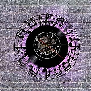 ユニークな ビニールレコード壁掛け時計、 サイレントクォーツ時計機構 ギター 常夜灯 リモコン付き 音楽ファンのための最高の贈り物,A