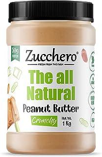 Zucchero 100% Natural Peanut Butter, Unsweetened, Crunchy 1kg, Unsweetend | Vegan | Protein : 30G