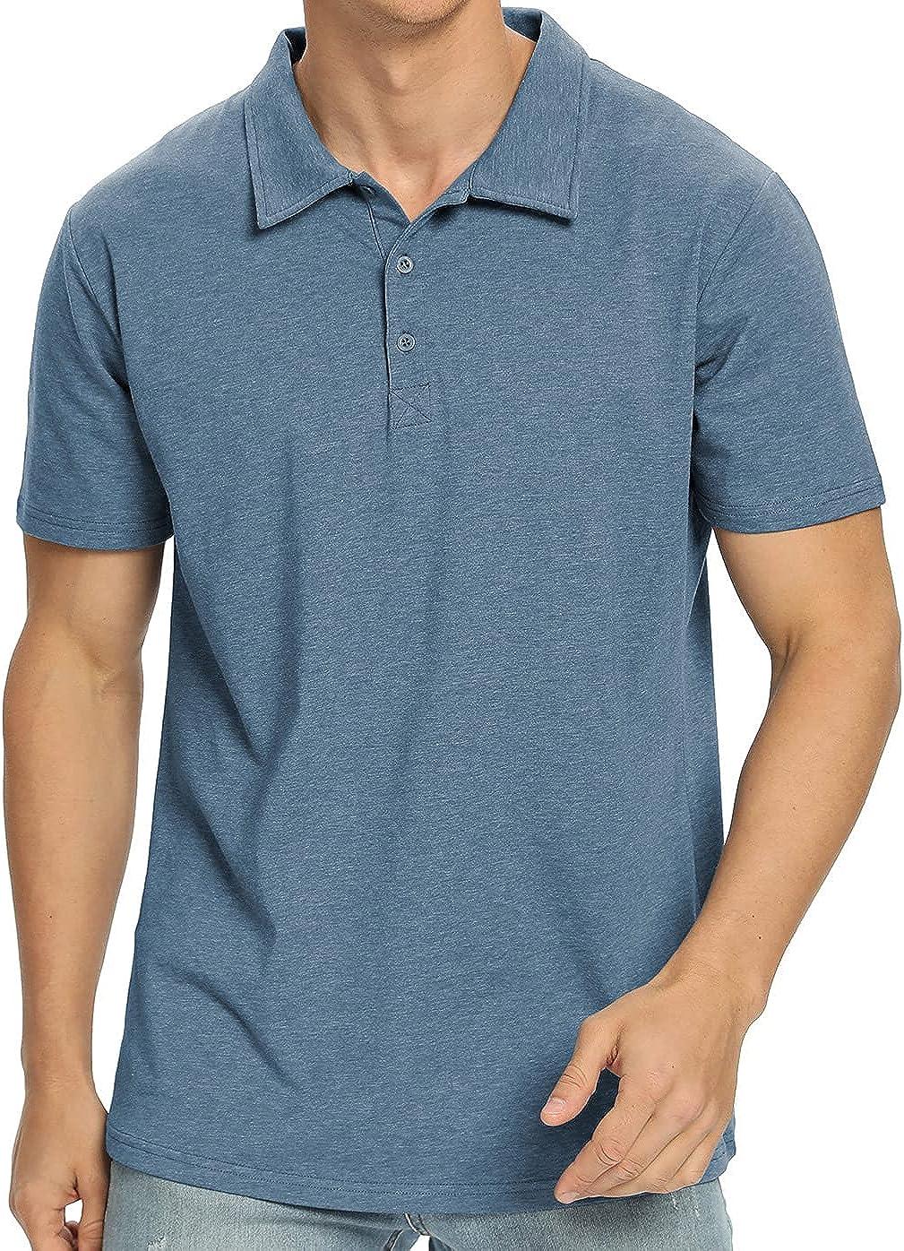 NITAGUT Men's Short Sleeve Solid Premium Cotton Jersey Polo Shirt