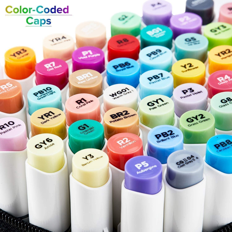 Regalo de 1 mezclador 120 rotuladores de colores a base de alcohol Ohuhu Rotuladores de dibujo de doble punta tanto para colorear como ilustraci/ón para ni/ños o artistas pincel y punta fina