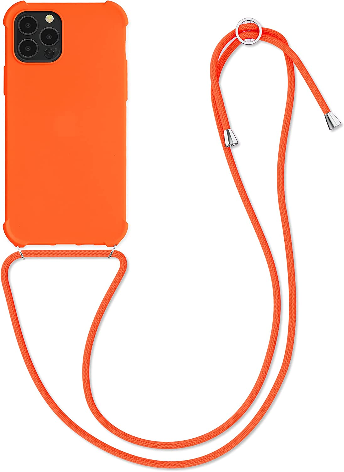 kwmobile Case Compatible with Apple iPhone 12/12 Pro - Crossbody Case Soft Matte TPU Phone Holder with Neck Strap - Cosmic Orange