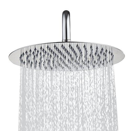 Derpras Round Rain Shower Head, 304 Stainless Steel, Ultra Thin Powerful High Pressure Top Spray Bathroom Rainfall Showerhead(Brushed Nickel) (8 Inch, 90 Jets)