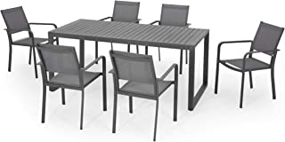 Great Deal Furniture Paula 6 Seater Aluminum Dining Set, Gray, Gun Metal Gray, and Dark Gray