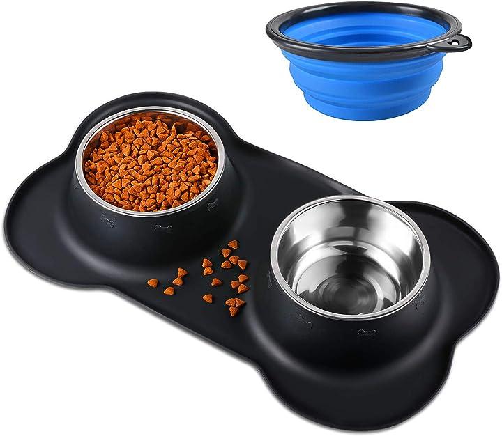 Ciotole per cani gatti, 2 pack 400ml ciotola per cane in acciaio inossidabile bonve pet B07H37QJ4L