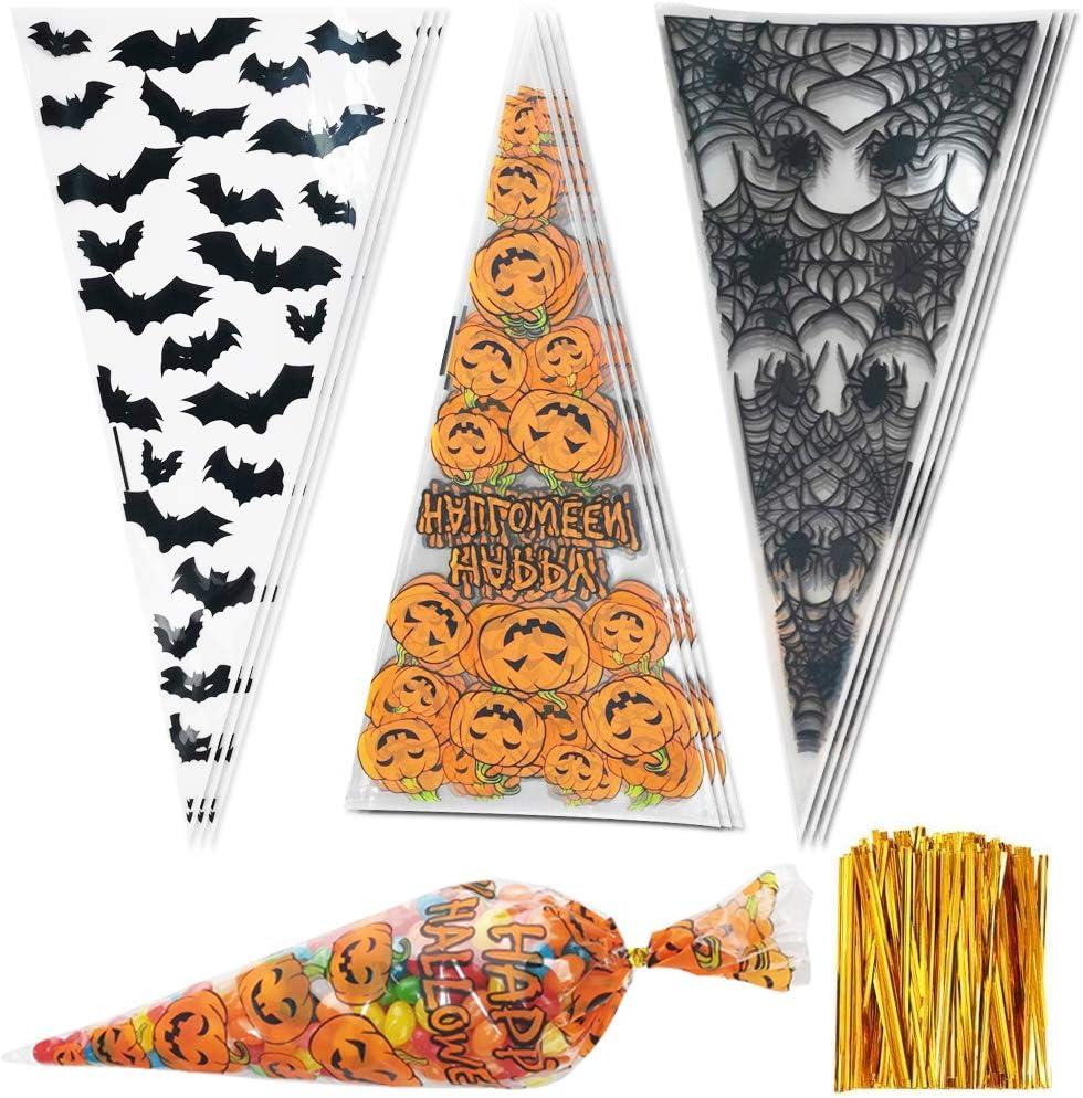 BESLIME Transparentes Bolsas Celofán, 300 pcs Bolsa de dulces de Halloween con Twist Ties para Regalo Bolsa, Bolsa de Dulces, Chocolate, Galletas