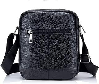Haibeisi Fashion Unique Men's Shoulder Bag Leather Crossbody Bag Durable Waterproof Single Bag Sports Casual Leather Collect Money Bag (Color : Black, Size : M)