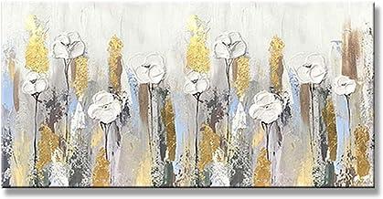 Handgeschilderd Olieverfschilderij - Modern Handgeschilderd Mes Dikke Olie Abstracte Witte Bloemen Olieverfschilderij Pale...