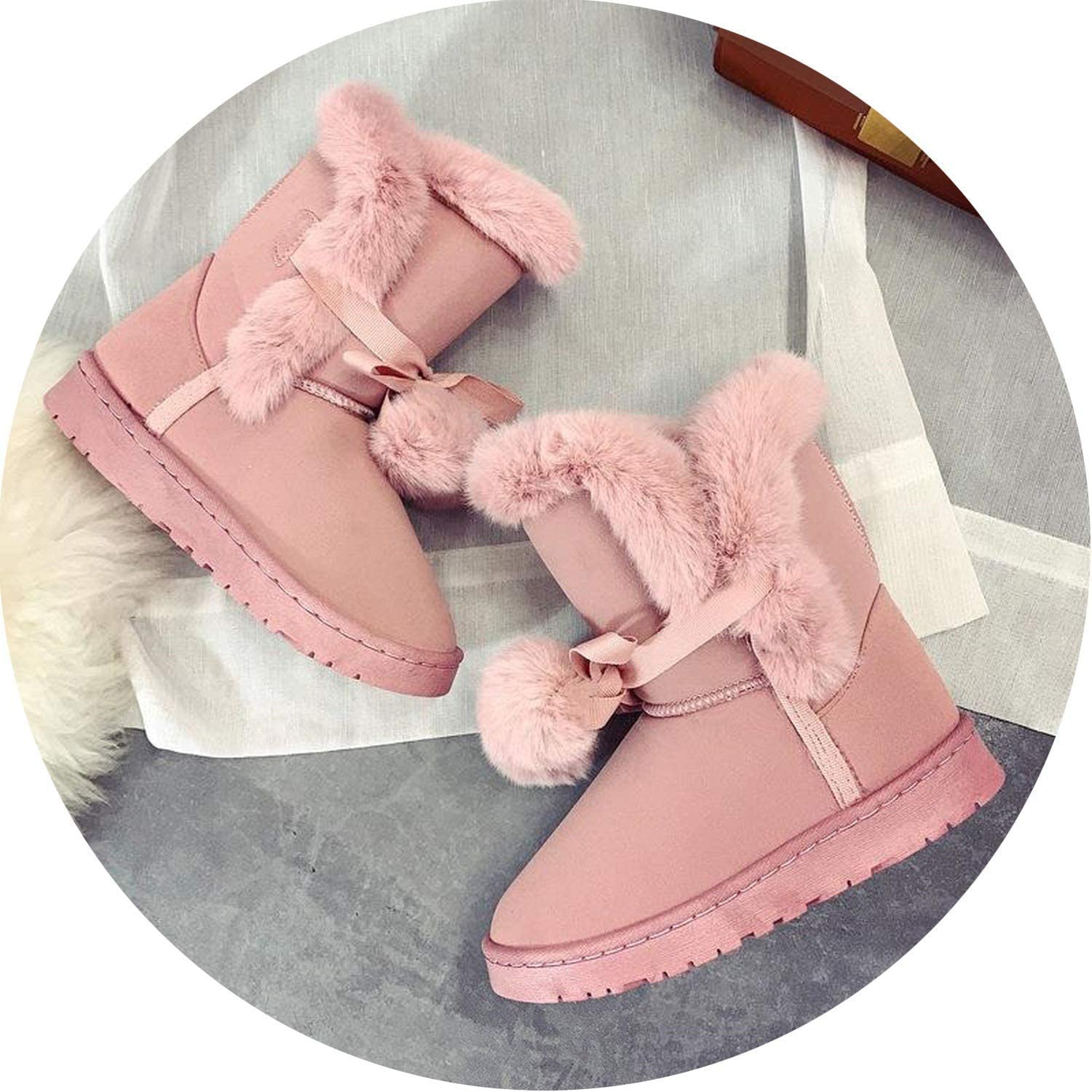 Nice Style Warm Fur Women Snow Boots Cute Suede Winter Fur Boots Female Fashion Boots Non-Slip Snow
