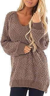 Meenew Women's V Neck Fuzzy Long Sweater Loose Sherpa Fleece Pullovers Jumper