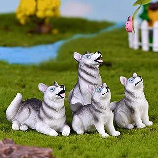 Ruzucoda Miniature Husky Dog Figures Animal Toys Figurines Fairy Garden Party Decorations Resin Craft Ornaments 4 PCS