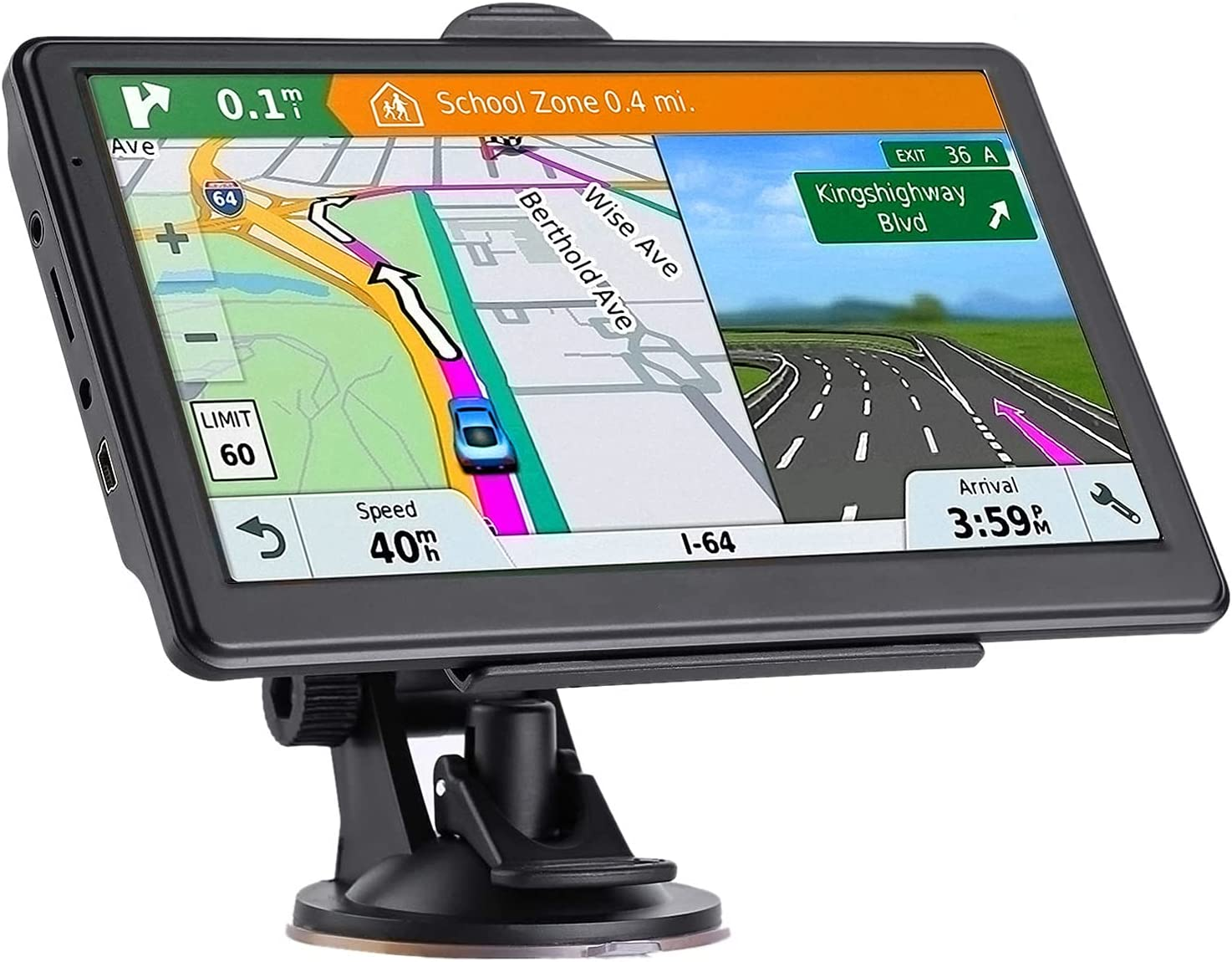 GPS Navigation for Car, Latest 2021 Map 7 inch Touch Screen Car GPS 256-8GB, Voice Turn Direction Guidance, Support Speed and Red Light Warning, Pre-Installed North America Lifetime map Free Update…