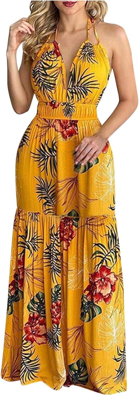 FEITONG Long Dress Women Bohemian Dress Summer Chic Floral Print Sleeveless Cocktail Party Dress Beach Dress