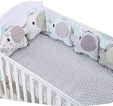 protector cuna,Creativo Baby Algodón Cot Liner Bumper, Adorable forma de elefante Polka Dot Star Crib Bed Bumper para Niños Pequeños - 6 piezas