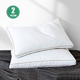 Yalamila Goose Down Feather Pillow Inserts for Sleeping Set of 2 Standard Bed Pillow for Side Stomach and Back Sleepers Neck Pain Soft