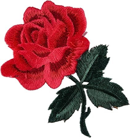 1x Rose Flowers Patch Floral Embroidered Applique Patches Sew on For DIY A!