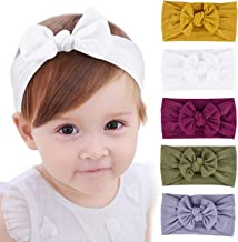 Baby Newborn Headbands Super Stretchy, Bows Child Hair Accessories Nylon Knotted Headbands for Newborn Infant Toddlers Children Super Soft