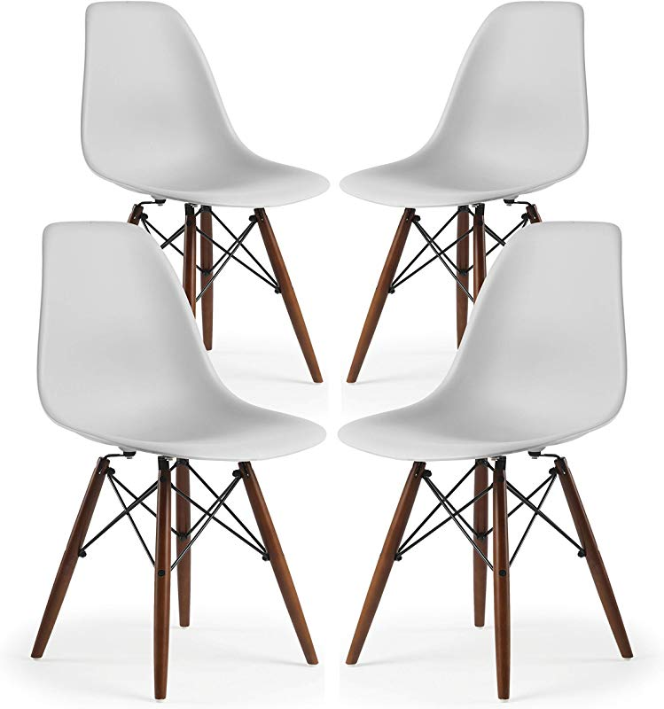 Poly And Bark Vortex Modern Mid Century Side Chair With Wooden Walnut Legs For Kitchen Living Room And Dining Room Harbor Grey Set Of 4