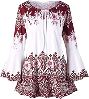 POQOQ Tops Blouses Womens Fashion Plus Size Printed Flare Sleeve T-Shirts