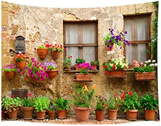 JAWO Tuscan Tapestry, Street Decorated with Flowers in Italy Wall Tapestry, Tapestry Wall Hanging for Bedroom Living Room Dorm 71X60Inches