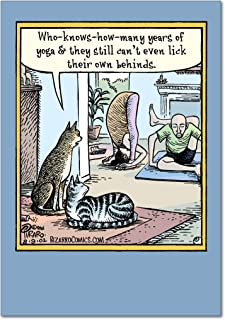 Yoga Lick Behinds Hilarious Birthday Paper Card with Envelope 4678