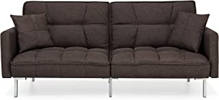 Best Choice Products Living Room Convertible Linen Fabric Tufted Splitback Sleeper Plush Futon Couch Furniture w/ Pillows - Brown