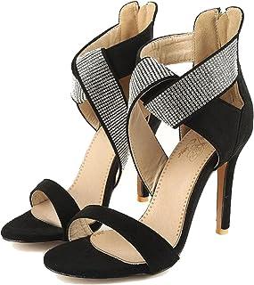 77c40f987f7 Kingwhisht Plus Big Size Black Red Blue Zip Crystal Sexy High Heel Female Lady  Sandals