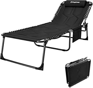 KingCamp Oversize Padded Folding Chaise Lounge Chair for Outdoor, Patio, Beach, Lawn, Sunbathing, Tanning, Pool, Lay Flat ...