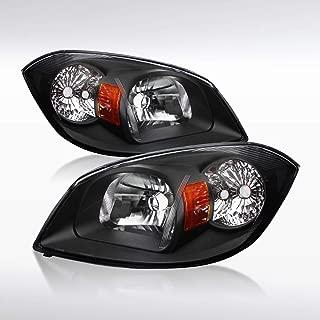 Autozensation For Chevy Cobalt LS LT/Pontiac Pursuit G5 Black Clear Headlights+Amber Reflector Pair