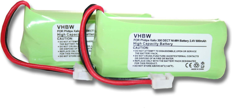 vhbw 2X NiMH batería 600mAh (2.4V) para teléfono Fijo inalámbrico Philips DECT 215 Trio, TU3315 por 2HR-AAAU, H-AAA600X2, H-AAA500X2.