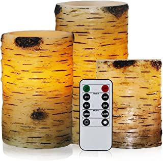 Flickering Flameless Candles with Birch Bark Effect LED Candles 4