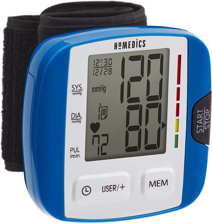 HoMedics Automatic Blood Pressure Monitor Wrist  Smart Measure Technology  Battery Powered OneTouch