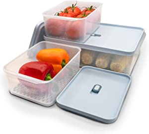 Laramaid 9Piece Fresh Produce Saver Antibacterial Food Storage Container Set with Vented Lids and Drain Trays, BPA-Free Fresh Produce Vegetable Fruit Stackable Refrigerator Organizer