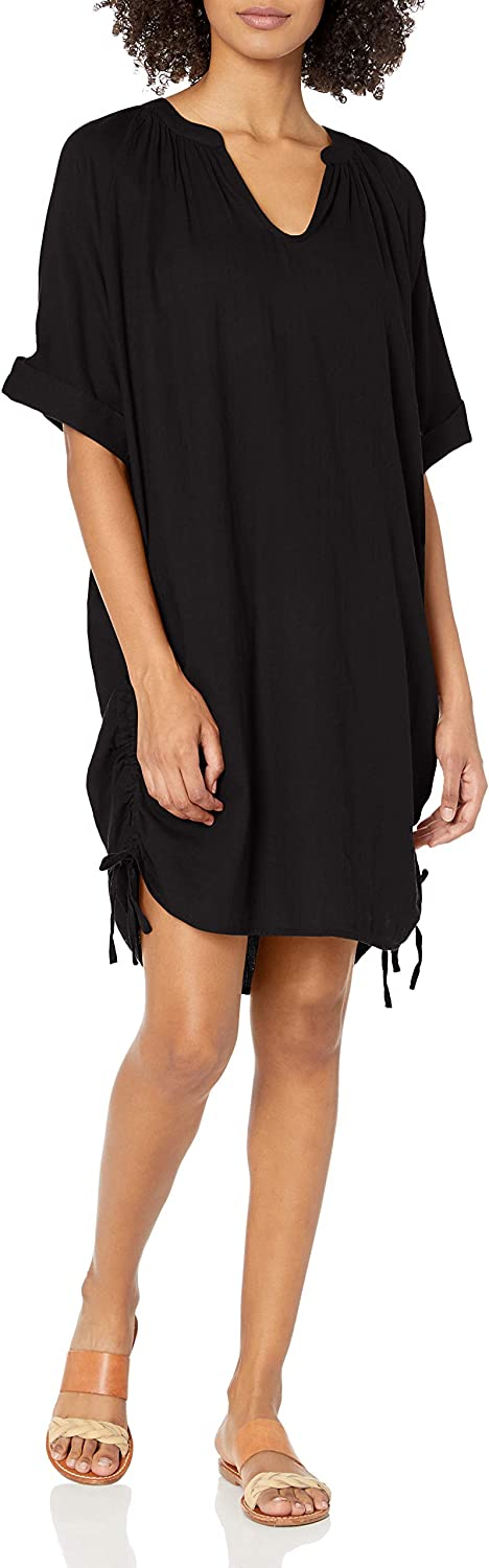 Seafolly Women's Textured Cotton Swimsuit Cover Up Dress with Shirred Sides