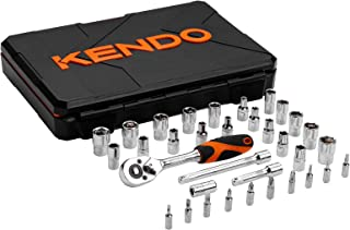 Kendo 35pcs 1/4'' Drive Ratchet Socket Wrench Set - Professional 72 Tooth Reversible Quick Release Wrench with CrV Sockets and Accessories - SAE + Metric + Bits - Premium Blow Molded Case Included