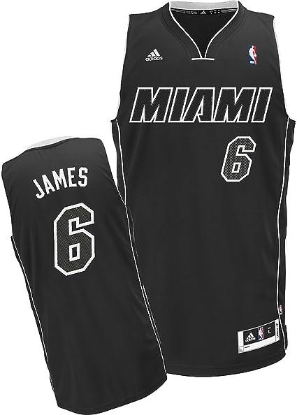 adidas Lebron James Black/White #6 Miami Heat Swingman Jersey