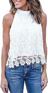 Relipop Summer Women's Sleeveless Backless Halter Shirt Strapless Lace Crop Tank Top Blouse