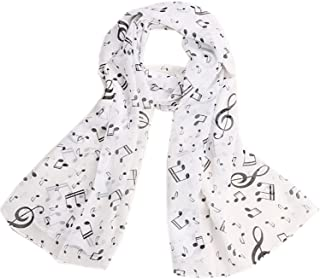 Bullidea Silk Scarf Women's Beach Ultra-thin Shawl Wrap Sunscreen Music Character Printing Decoration Chiffon Scarf