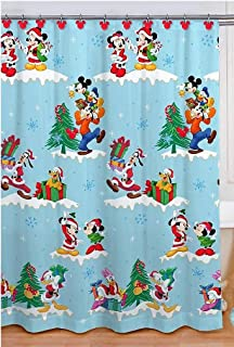 Merry Christmas Mickey and Friends Bathroom Shower Curtain with Hooks