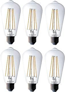 Bioluz LED Vintage Edison LED Bulb, Dimmable 7W ST64 Antique LED Bulb Squirrel Cage Filament Lights, Home Decoration, E26 Base, 3000K Soft White, Pack of 6