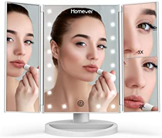 HOMEVER Specchio Trucco con 21 LEDs, Specchio di Vanity Trifold Ruota di 180° Ingrandimento 1x / 2X / 3X Specchio per Il c...