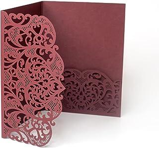 Pizzo bordeaux tagliato al laser copre - matrimonio, compleanno, invito battesimo, inviti fai da te, kit, adatto a 4 inser...