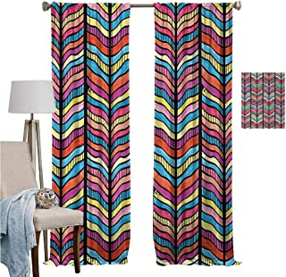 Blackout Curtains for Living Room- Warm Curtain Watercolor Style Colorful Rainbow Leaf Like Modern Design with Black Lines Arwork Thermal Insulated Drapery Drapes for Living Room W120 x L107