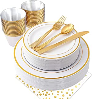 NERVURE 175PCS Gold Plastic Plates & Plastic Silverware & Rose Gold Cups, 25 Disposable Plates Setting: 25 Dinner Plates,25 Dessert Plates, 25 Forks,25 Knives, 25 Spoons, 25 Cups,25 Napkins