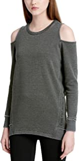 Calvin Klein Distressed Style Cold Shoulder Athletic Sweatshirt (Vine, Small)