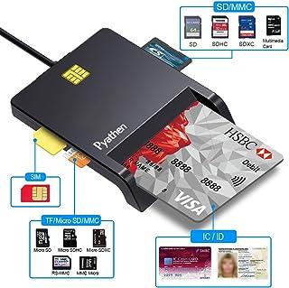 Pyathen IC カードリーダーライダー・CAC/SD/Micro SD (TF)/SIMスマートカードリーダーUSB接続 接触式 ICチップのついた住民基本台帳カード対応 マイナンバーカード、住基カードに対応、自宅で確定申告(e-Tax) Windows Mac OS対応、黒