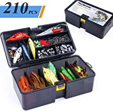 PLUSINNO Fishing Lures Baits Tackle Including Crankbaits, Spinnerbaits, Plastic Worms, Jigs, Topwater Lures, Tackle Box and More Fishing Gear Lures Kit Set, 210/189Pcs Fishing Lure Tackle…
