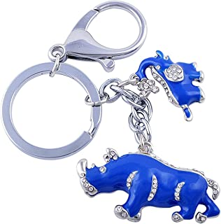 Feng Shui Blue Rhinoceros and Elephant Keychain or Hanging -Anti Burglar (With Betterdecor Gift Pouch)